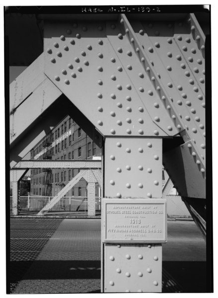 DETAIL OF BUILDER'S PLATE- 'SUPERSTRUCTURE BUILT BY STROBEL STEEL CONSTRUCTION CO., CHICAGO, ILL., 1913, SUBSTRUCTURE BUILT BY FITZSIMONS and CONNELL DandD CO., CHICAGO, ILL.' HAER ILL, 16-CHIG, 125-2