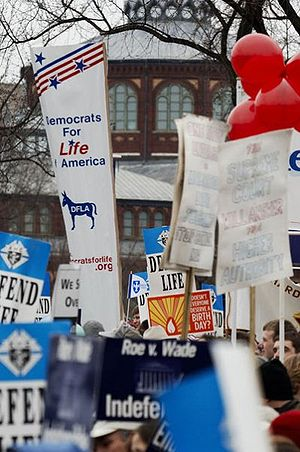 United States pro-life movement - Democrats for Life of America demonstrates at the 2006 March for Life.
