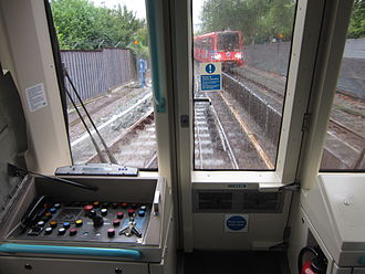 Docklands Light Railway rolling stock - View from the front of a Docklands Light Railway train. The control desk is usually closed.