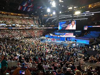 2016 Democratic National Convention - View of the stage at the Wells Fargo Center, during the 2016 Democratic National Convention.