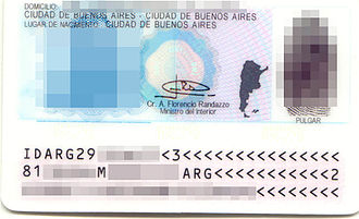 Visa requirements for Argentine citizens - Back side of current version of the DNI