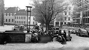 Danish resistance fighters injured during fighting with German troops in Aarhus, Bispetorv, 5 May, 1945
