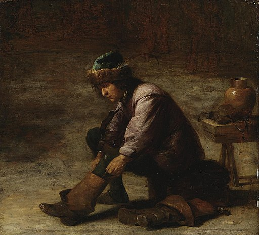 David Teniers II - A young man pulling on a boot