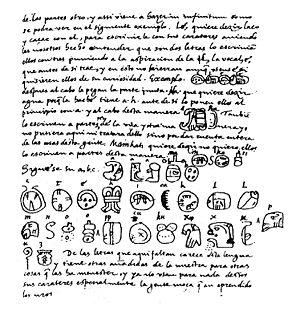 Charles Étienne Brasseur de Bourbourg - Page from Brasseur de Bourbourg's edition of de Landa's Relación de las Cosas de Yucatán, with the famous de Landa alphabet.
