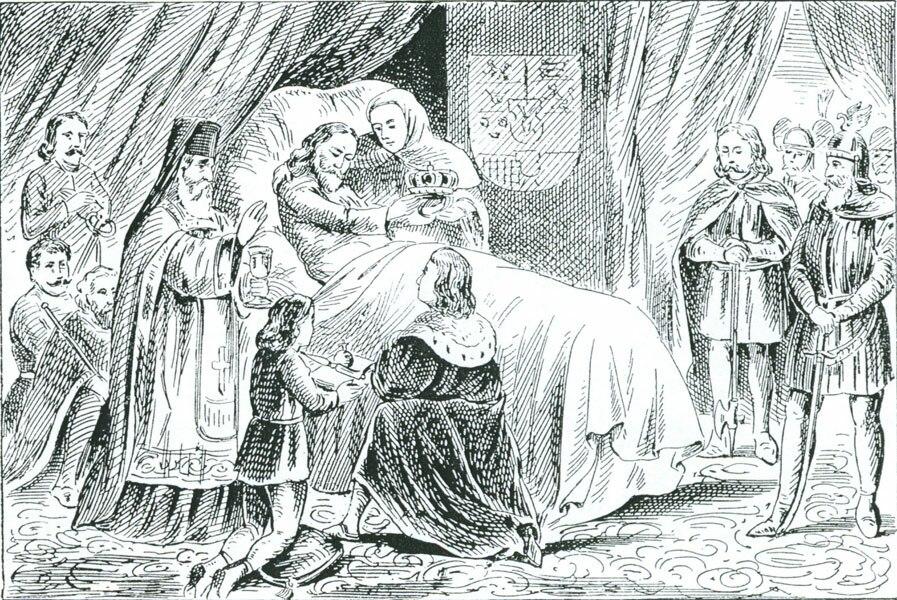 Death of Emperor Dušan, 19th-century drawing