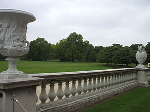 Garden at Buckingham Palace - Decorative vases set atop a balustrade at the west face of Buckingham Palace