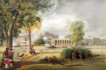""" ""Defence of the Arrah House, 1857"" by William Tayler – Coloured Lithograph from a drawing."""
