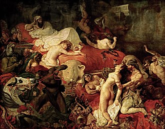 Romanticism - Eugène Delacroix, Death of Sardanapalus, 1827, taking its Orientalist subject from a play by Lord Byron