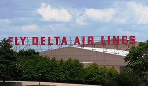 "Delta TechOps - ""Fly Delta Air Lines"" marker at Delta and Delta TechOps' headquarters at Hartsfield-Jackson Atlanta International Airport"