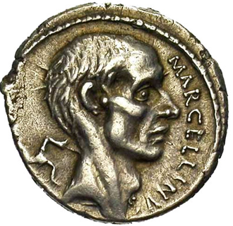 Marcus Claudius Marcellus - 212–210 BC coin of Marcellus, celebrating his conquest of Sicily.