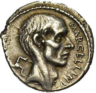 Marcus Claudius Marcellus - 212–210 BC coin of Marcellus, celebrating his conquest of Sicily.