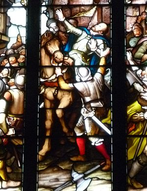 James Hamilton (assassin) - Detail from a stained glass window depicting the assassination