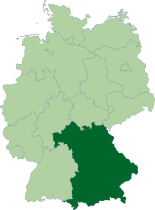 Map of Germany, location of Bavyera highlighted