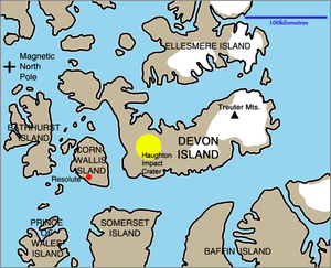 Treuter Mountains - Map of the Devon Island region, including the Treuter Mountains