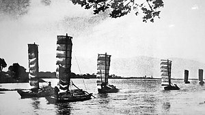Dian Lake - Chinese sailing junks on Lake Dian (滇池), Kunming (昆明), Yunnan (云南), circa 1940s
