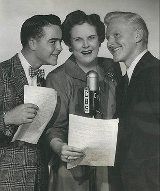 House Jameson - November 1944 photo from the radio program The Aldrich Family. From left: Dick Jones (Henry Aldrich), Katherine Raht (Mrs. Aldrich) and House Jameson (Mr. Aldrich).