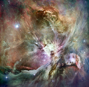 English: HST Orion nebula image composited wit...
