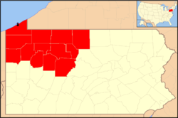 Location of the Diocese of Erie in Pennsylvania