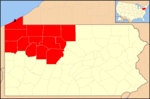 Roman Catholic Diocese of Erie - Image: Diocese of Erie map 1