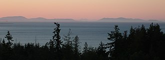 Discovery Bay, Washington - View of Discovery Bay near sunset, looking north with the San Juan Islands in the background
