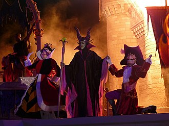 Maleficent - Maleficent with the Queen of Hearts, and Captain Hook during Mickey's Not-So-Scary Halloween Party 2009.