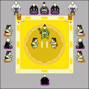 Dohyō - Layout of, and placement of sumo participants around, a dohyō