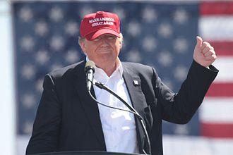 Make America Great Again - Donald Trump wearing a Make America Great Again hat during his successful 2016 campaign.