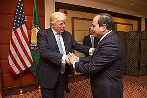 Donald Trump greets the President of Egypt, Abdel Fattah Al Sisi, May 2017