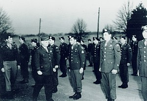 Office of Strategic Services - General William J. Donovan reviews Operational Group members in Bethesda, Maryland prior to their departure for China in 1945.