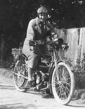 Douglas (motorcycles) - Doris Ogilvie on her Douglas 2¾hp TT in Switzerland 1923