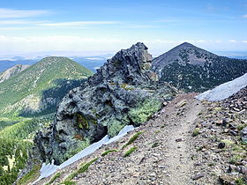 A photo from a trail on Agassiz Peak looking towards Doyle and Fremont peaks in summer