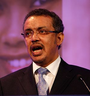 Tedros Adhanom - Image: Dr. Tedros Adhanom Ghebreyesus, Minister of Health, Ethiopia, speaking at the London Summit on Family Planning (7556214304) (cropped)