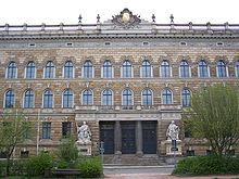 Front of historic building used by the regional court in Dresden
