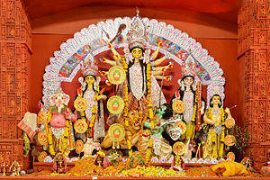 Mahishasura -  Durga is worshiped in her Mahishasuramardini form, during Durga Puja