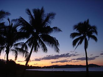 Rowes Bay, Queensland - Dusk at Soroptimist Park, Rowes Bay; looking northwards to Cape Pallarenda Conservation Park