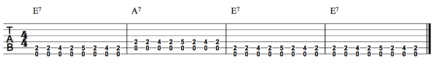 Guitar tablature for a blues shuffle in E major E7 A7 E7 E7 blues chord progression guitar.png