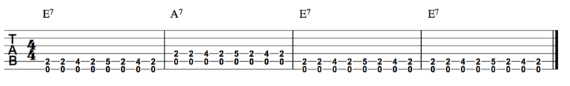 E7 A7 E7 E7 blues chord progression guitar.png
