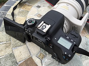 Canon EOS 750D - A view of the EOS 760D showing the top mounted LCD screen.