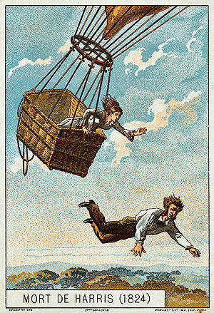 Timeline of aviation – 19th century - Harris jumps from his balloon to save his fiancée. Illustration from the late 19th Century.