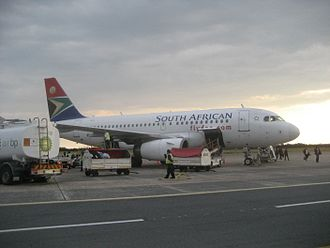 East London Airport - SAA Airbus A319-100 at East London Airport in 2016