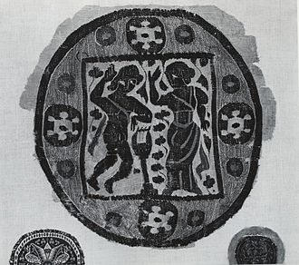 Orpheus and Eurydice - Egyptian tapestry roundel with Orpheus and Eurydice, 5th-6th century AD
