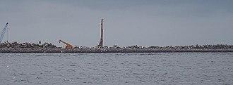 Eko Atlantic - Shoreline of Eko Atlantic under construction (2011)