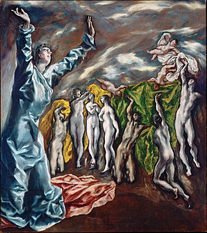Art of El Greco - The Opening of the Fifth Seal (1608–1614, oil, 225 x 193 cm., New York, Metropolitan Museum) has been suggested to be the prime source of inspiration for Picasso's Les Demoiselles d' Avignon.