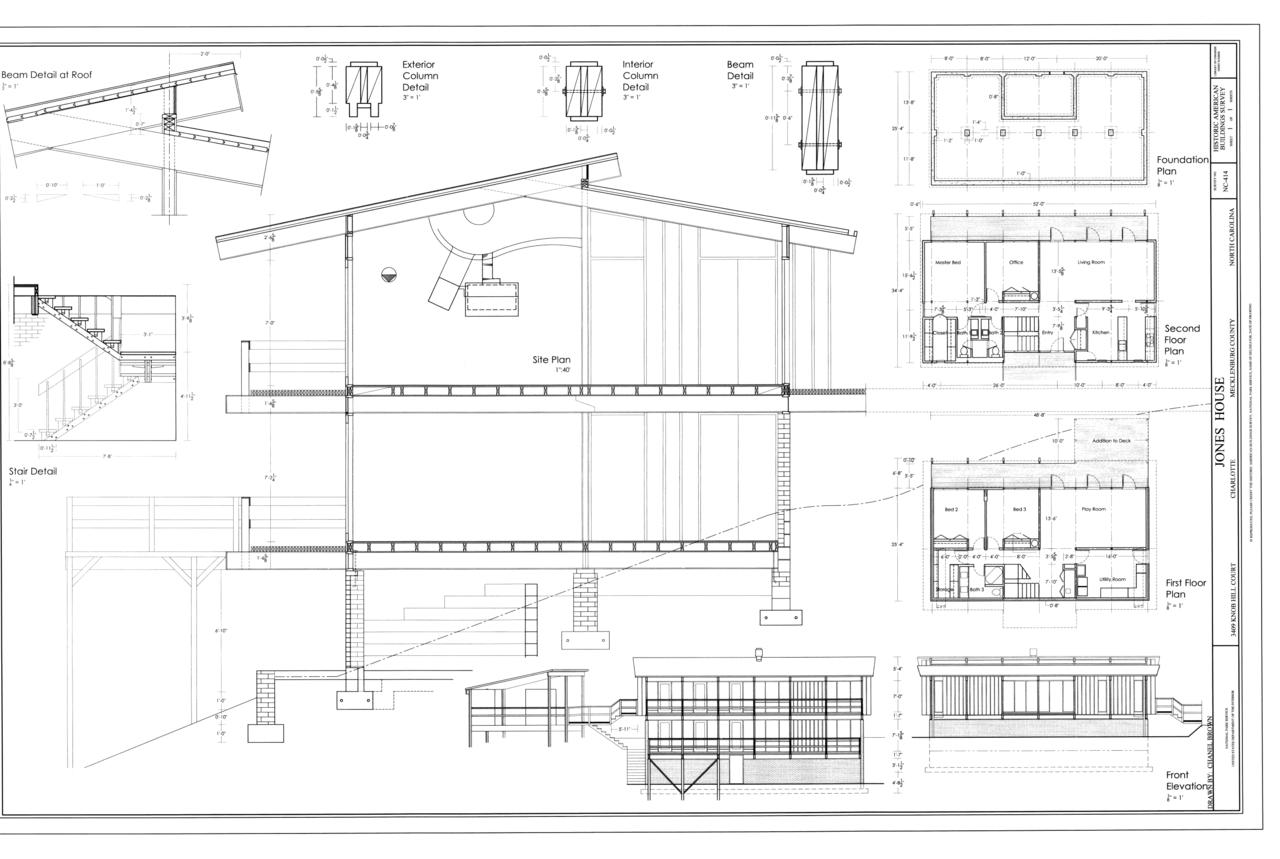 File:Elevations, floor plans - Jones House, 3409 Knob Hill ...