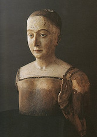 Wax sculpture - The funeral effigy (without clothes) of Elizabeth of York, mother of King Henry VIII, 1503, Westminster Abbey
