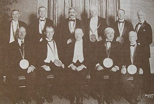 Edgar Apperson - Edgar Apperson, back row, third from left, at Automobile Manufacturers' Association gold medal awarding in January 1925