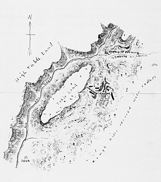 Battle of Embudo Pass - Sketch of battle site by United States Army Corps of Engineers cartographer JG Bruff.
