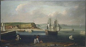 First voyage of James Cook - Earl of Pembroke, later HMS Endeavour, leaving Whitby Harbour in 1768. By Thomas Luny, dated 1790