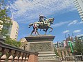 England flags for the 2018 FIFA World Cup on the Black Prince statue, City Square, Leeds (10th July 2018) 002.jpg