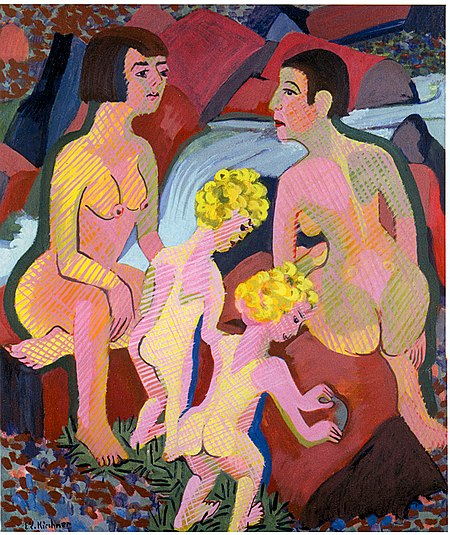 KIRCHNER Ernst Ludwig Bathing Women and Children 1925-32